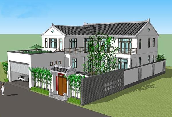 院落式中式别墅 二层农村自建房别墅图纸及效果图图片
