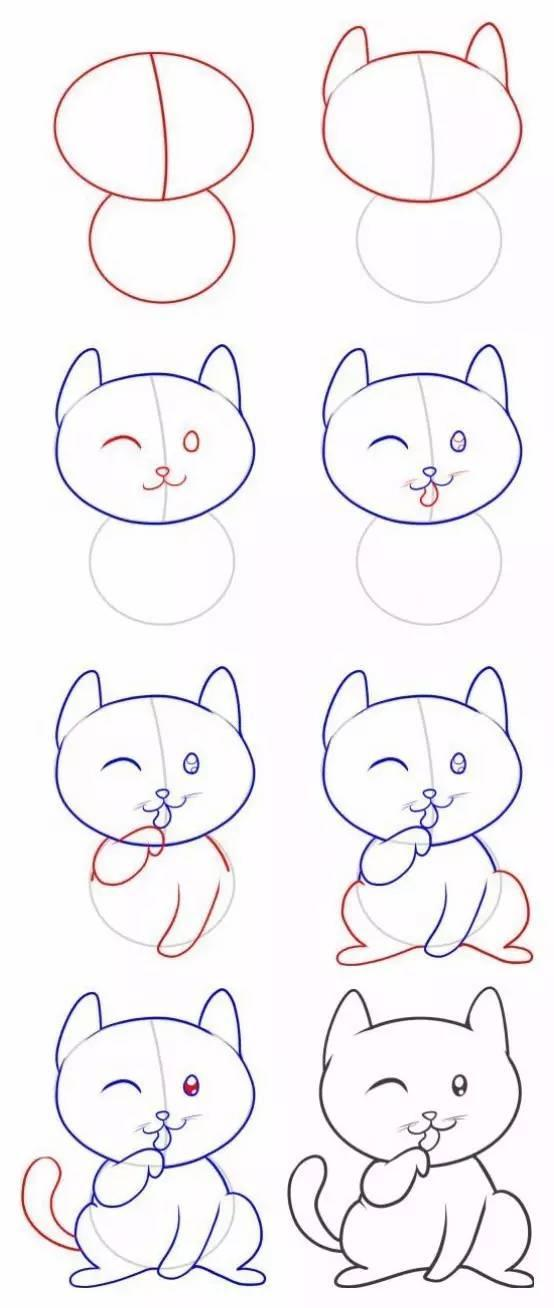 儿童简笔画 喵星人怎么来到地球 几笔画出猫猫