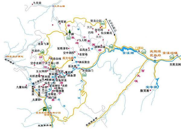 张家界旅游景点分布图